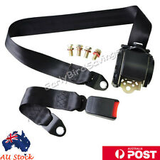 AU Black Universal 3 Point Retractable AUTO Car Seat Lap Adjustable Belt