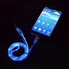 LG X Power 2 / 1m  Micro USB LED Datenkabel Ladekabel Handy Tablet Blau