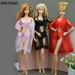 3sets Sexy Fashion Long Coat + Bra + Underwear Clothes For 1/6 Doll Gown Dress