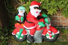REDUCED Inflatable Father Christmas Santa on Motorbike With LED Lights 1.5M Wide