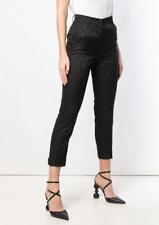 Authentic Roberto Cavalli Black Brocade Cigarette Trousers 6 Italy Netaporter