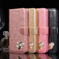 Bling Glitter PU Leather Case Magnetic Flip Wallet Cover For iPhone X/7 8 Plus/6
