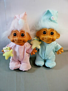 Russ Troll Baby Girl And Boy With Teddy IN Pajamas Approx. 19cm K23