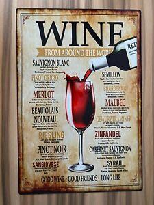 Wine Menu Sign novelty aluminium Metal Wall plaque A4 Bar plaque fun xmas
