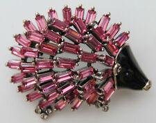 Hedgehog Brooch with Pink Rhinestones on Metal Brooch Pin