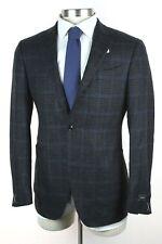 NWT $3195 ERMENEGILDO ZEGNA Mil Easy Dk Grey Check Cashmere Coat Jacket 56 46 L