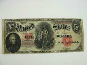 """1907 $5 LINCOLN WOODCHOPPER NOTE """"VERY NICE"""" CIRCULATED CONDITION #1 of 2 Now Up"""