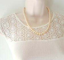 "Gorgeous 19"" long golden CREAM GLASS faux pearl bead necklace - diamante clasp *"