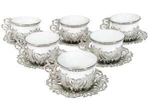 Turkish Tea Coffee Saucers 12 piece  Cup Set Multicoloured Silver Colour Luxury