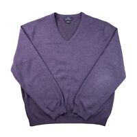 Brooks Brothers 346 Long Sleeve V Neck Pullover Wool Sweater Purple Men's Size L