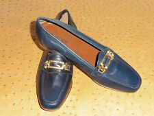 Shoe Moccasin Top Fashion Leather Navy Blue Timed Vintage 80 New T.37.5
