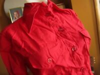 MEDIUM True Vtg 70s THIN CRIPSY CHERRY RED Blouse BIG COLLAR TOP