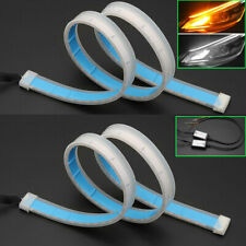 Vehicle Car Flexible Turn Signal Strip Light LED Running Flashing DRL 2X60cm 24""