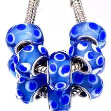 5PCS silver Charm lot LAMPWORK blue murano glass Bead for bracelet