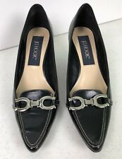 J G HOOK 9M Black Lucky Horse Shoe Loafer Pumps Heel Pointed Toe Classy!