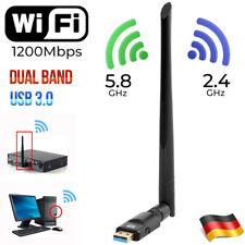 1200Mbps Weiträumige 5G kabellos Usb3.0 Dual Band Wlan WiFi Adapter Antenne DE