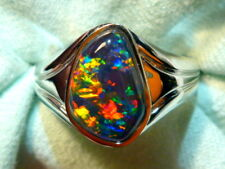 Mens Opal Ring 14ct White Gold Natural F Form Opal Triplet 15 x 10mm item 110571