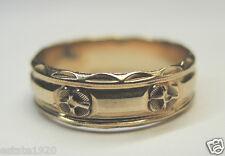 Antique Ladies Wedding Band 14K Yellow Gold Ring Size 6.25 UK-M Art Deco Vintage
