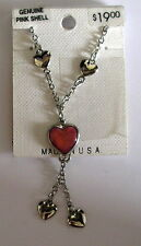 Heart Necklace New Usa made Wheeler Mfg. Sterling Silver Pink Shell