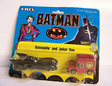 Rare NEW Ertl 1/64 1989 DC Comics Batman Movie Batmobile & Joker Van Set Diecast