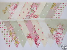 Pink, Green, Ivory, Taupe VINTAGE STYLE FABRIC WEDDING BUNTING 8M, 26FT NEW