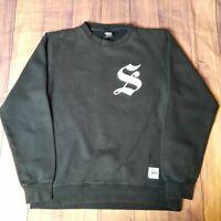 Mens STUSSY CREW Black Long Sleeve Pullover Sweater Jumper Size Medium M