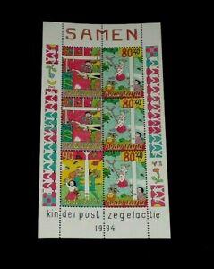 NETHERLANDS #B685a, 1994, CHILD WELFARE  ISSUE, SHEET/6, MNH, NICE! LQQK!
