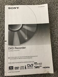 Sony Owner Manual Guide/Instruction for DVD Recorder RDR-HXD770/HXD870/HXD970