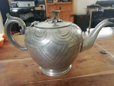 Thomas Otley & Sons Antique Silver Plated Teapot Ornate Chased Vintage pre 1900s