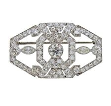 Set 2.23Ct Cubic Zirconia 925 Ss Brooch Classic Art Deco Design Bezel & Prong