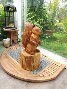 Eichhörnchen Eule Holz Figur Adler Haus Garten Kettensägenkunst Eingang Eichhorn