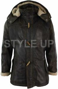 Mens 3/4 Long Duffle Coat Safari Hooded Black Classic Genuine Leather Coat