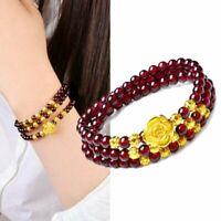 Unisex Rose Flower Natural Stone Bead Bracelet Multilayer Lucky Bangle Gifts