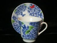 PANSY & BUTTERFLIES BLUE OR PURPLE FOOTED CUP & SAUCER
