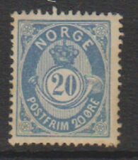 Norway - 1885, 20 ore Dull Blue stamp - No dot after POSTFRIM - M/M - SG 78