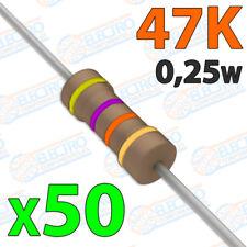 50x Resistencias 47K OHM 5% 1/4w 0,25w carbon film pelicula