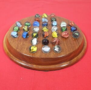 Lovely Hand Made Solitaire Board and Vintage Marbles - Recycled Walnut Timber.