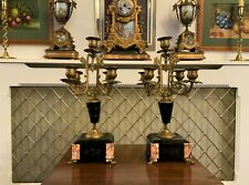 GOOD PAIR 19thc FRENCH GILT METAL SLATE 5 BRANCH CANDELABRA CANDLESTICKS