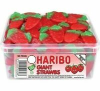 HARIBO GIANT STRAWBS - (1056g / 3kg) - Strawberry Sweets Fruit Gum Jelly bt Chew