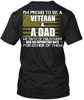 Fashionable - I'm Proud To Be A Veteran & Dad My Oath Hanes Tagless Tee T-Shirt