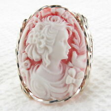 Lady Bird Cameo Ring .925 Sterling Silver Jewelry Any Size Pink Resin