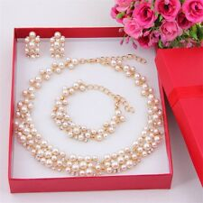 Imitation Pearl Gold Plated Simple Elegant Bridal Jewelry Sets Kit Gift EN