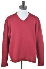 POLO RALPH LAUREN Mens V-Neck Jumper Sweater XL Red Wool  EA14
