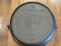 """Vintage GRISWOLD # 6 Cast Iron MASLIN KETTLE With SLANT LOGO - Model """"ERIE"""" 937"""