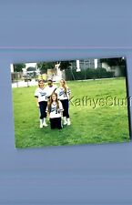 Found Color Photo T+2965 Pretty Teen Girls Posed In Baseball Uniforms