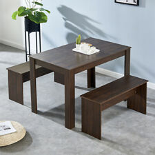 Melamine Dining Sets Table w/ 2 Benches Chair Kitchen Furniture Decorate New