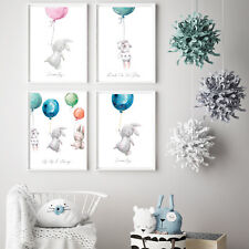 Nursery Prints Childrens Bedroom Pictures Decor Boy Girl Baby Rabbit Wall Art A4