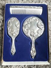 Gorgeous silver plated vanity dressing table set. Vintage. 3 piece. Heavy.