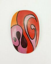 Aichberger Retro Colors Red E/0217 Vintage Handpainted Enamel Broche M
