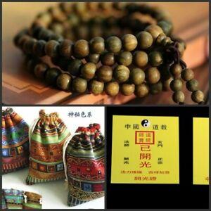 Blessed !! Green Sandalwood 108 8mm Buddhist Prayer Bead Mala Bracelet/Necklace